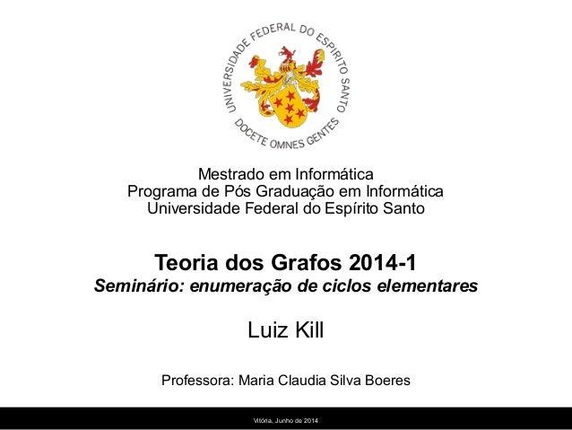 Mestrado em Informática Programa de Pós Graduação em Informática Universidade Federal do Espírito Santo Teoria dos Grafos ...