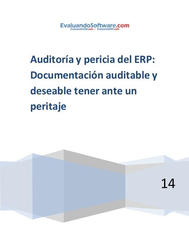 14  Auditoría y pericia del ERP:  Documentación auditable y  deseable tener ante un  peritaje