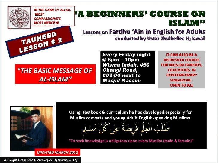 [Slideshare] fardh'ai92012)-lesson#2-tauheed-(16-march-2012)