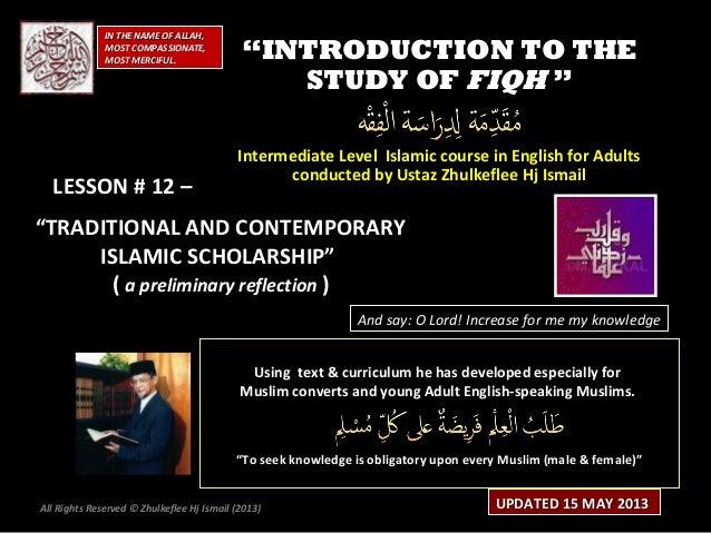 [Slideshare] fiqh-course-lesson#12-(feb-2013-batch)- islamic-scholarship-(15-may-2013)