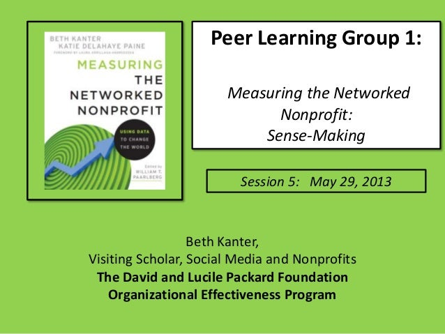 Peer Learning Group 1:Measuring the NetworkedNonprofit:Sense-MakingSession 5: May 29, 2013Beth Kanter,Visiting Scholar, So...