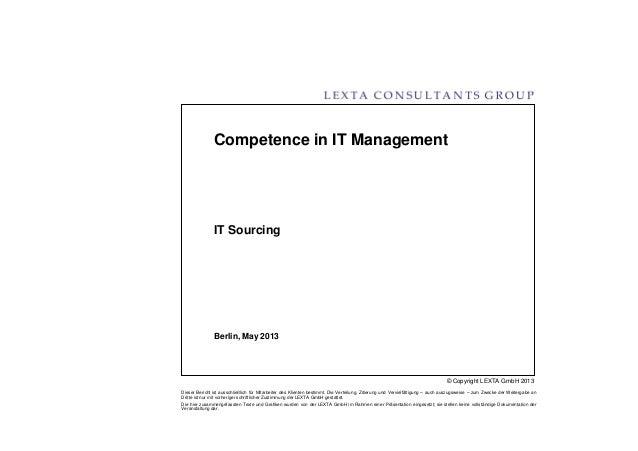 © Copyright LEXTA GmbH 2013Dieser Bericht ist ausschließlich für Mitarbeiter des Klienten bestimmt. Die Verteilung, Zitier...