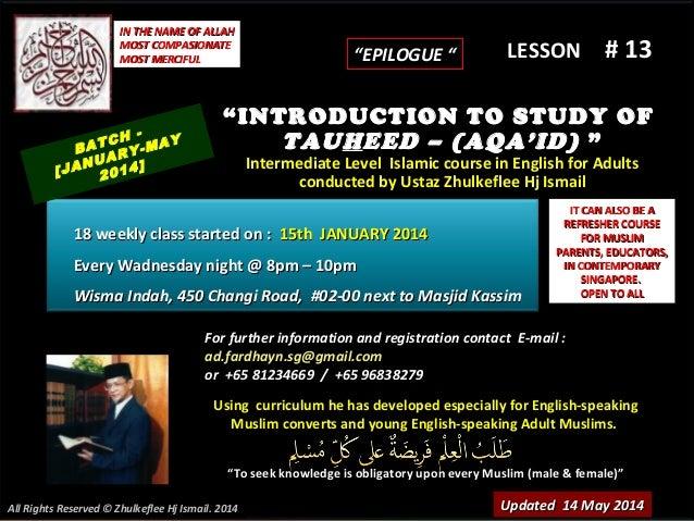 Slideshare (lesson # 13)tauheed-course-(batch-january-2014)-epilogue-14-may-2014