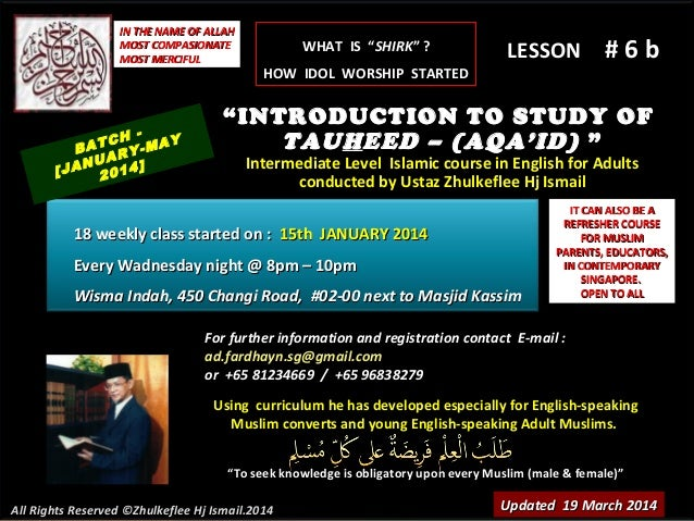 Slideshare (lesson # 6b)tauheed-course-(batch-january-2014)-shirk&taghut-19-march-2014
