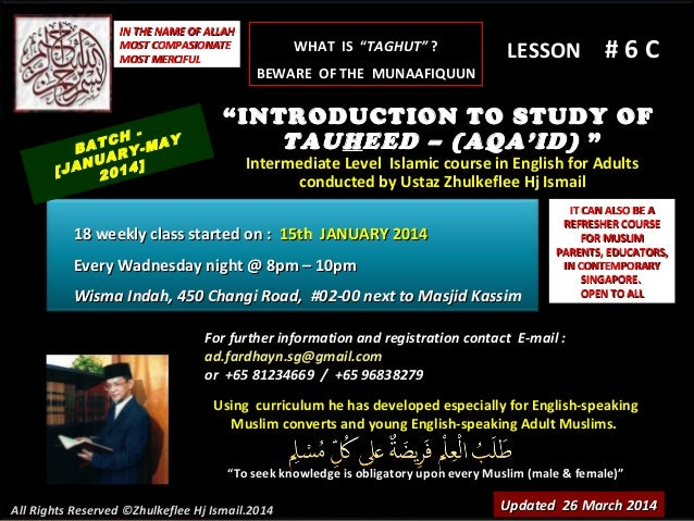 Slideshare (lesson # 6c)tauheed-course-(batch-january-2014)-taghut&munafiqun-26-march-2014