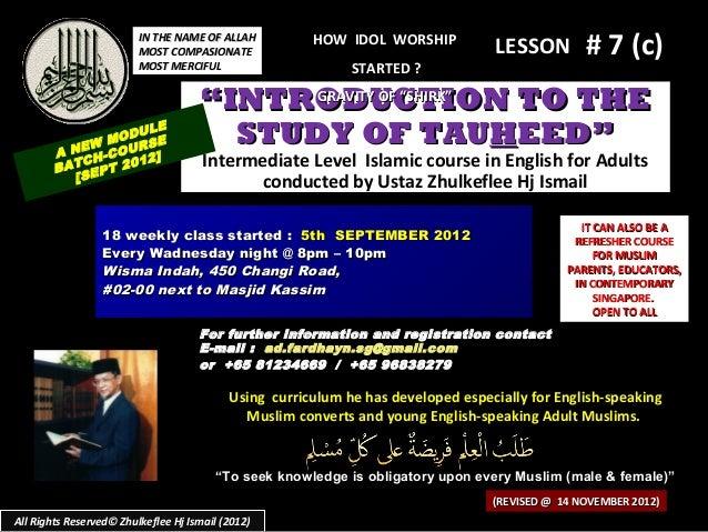 (Slideshare) lesson#6(c)tauhid-course-(14-november-2012)