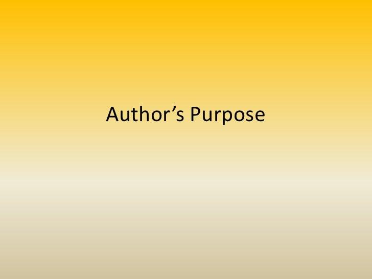 4th Grade - Author's Purpose