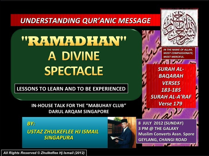 [Slideshare] ramadhan-divine-spectacle(tadzkirah-8 july 2012)