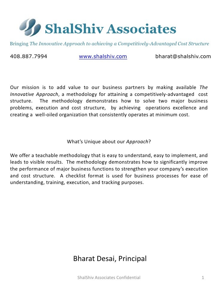 ShalShiv AssociatesBringing The Innovative Approach to achieving a Competitively-Advantaged Cost Structure408.887.7994    ...