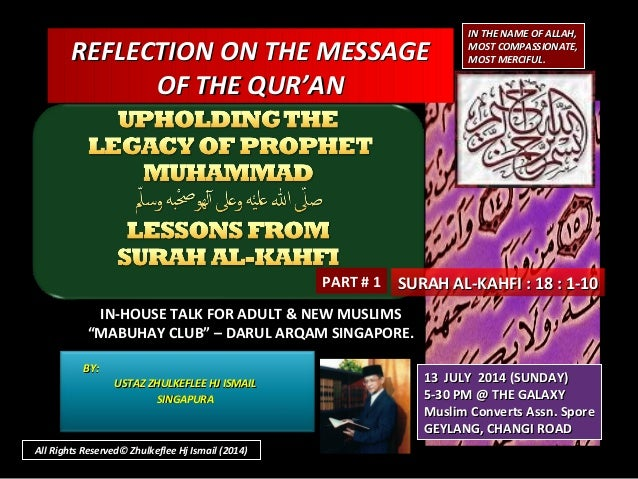 [Slideshare] tadzkirah-july -2014(b)-lesson-for-true believer(al-kahfi-18-1-10]