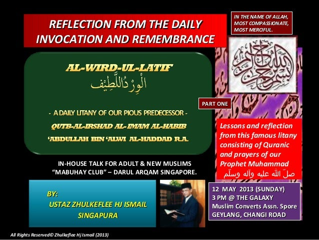 [Slideshare] tadzkirah-may -2013-lesson-reflection -wird-ul-latif-(part 1)