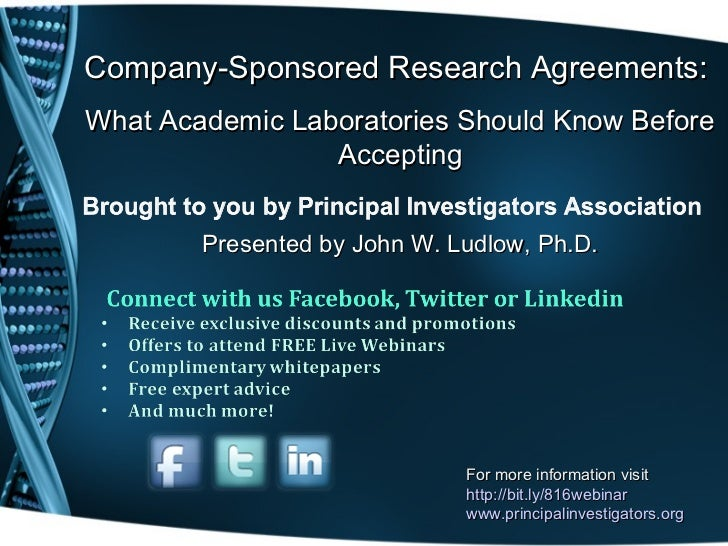 Company-Sponsored Research Agreements:What Academic Laboratories Should Know Before                 Accepting        Prese...