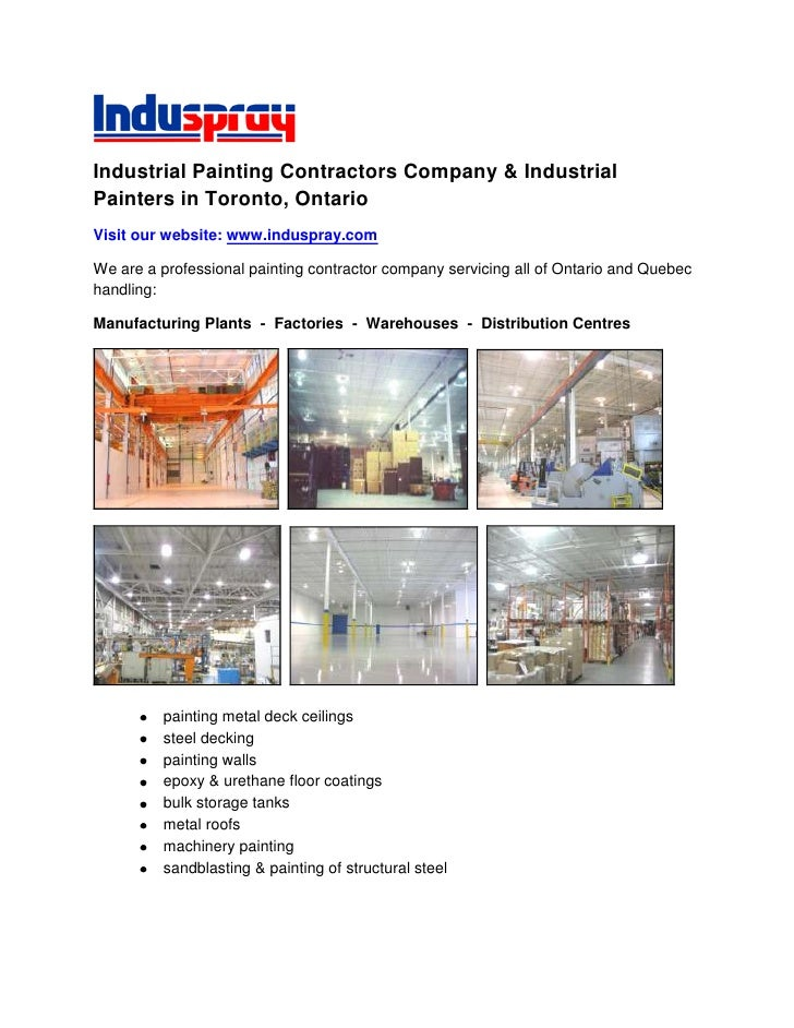 Industrial Painting Contractors Company & Industrial Painters in Toronto, Ontario<br />Visit our website: www.induspray.co...