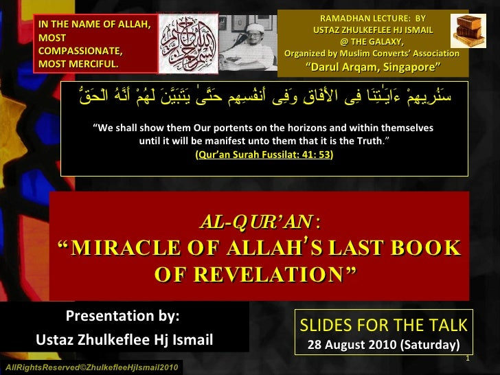 """RAMADHAN LECTURE:  BY USTAZ ZHULKEFLEE HJ ISMAIL @ THE GALAXY,  Organized by Muslim Converts' Association  """"Darul Arqam, S..."""
