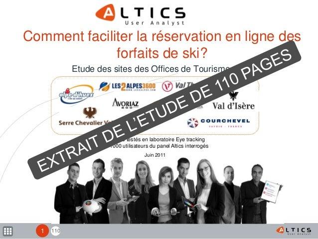 110 9 sites testés en laboratoire Eye tracking 1000 utilisateurs du panel Altics interrogés Comment faciliter la réservati...