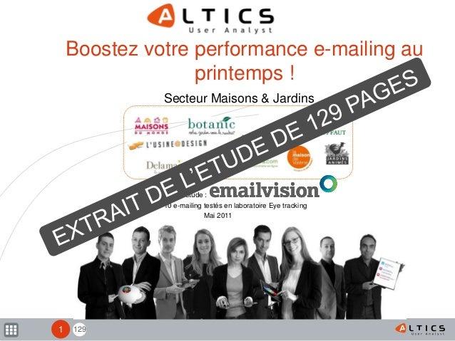129 Boostez votre performance e-mailing au printemps ! Secteur Maisons & Jardins 10 e-mailing testés en laboratoire Eye tr...