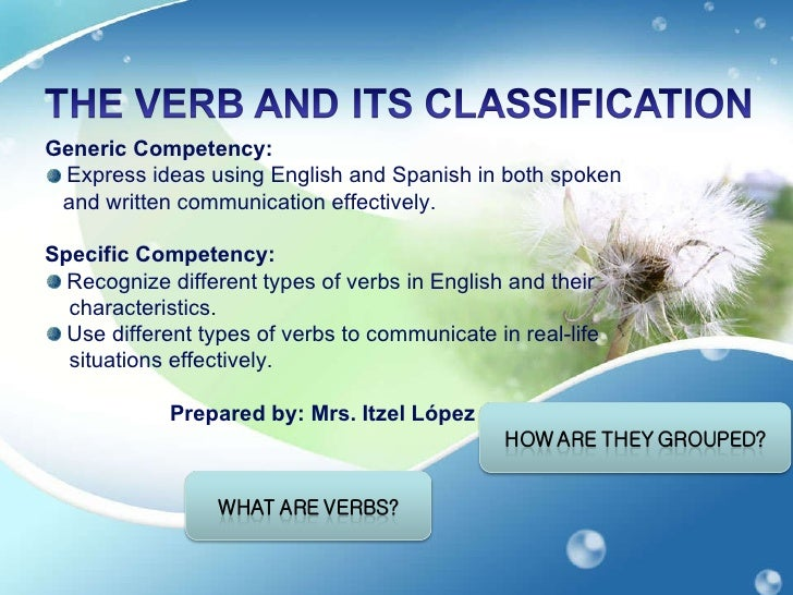 Slide share class on the verb and its classification