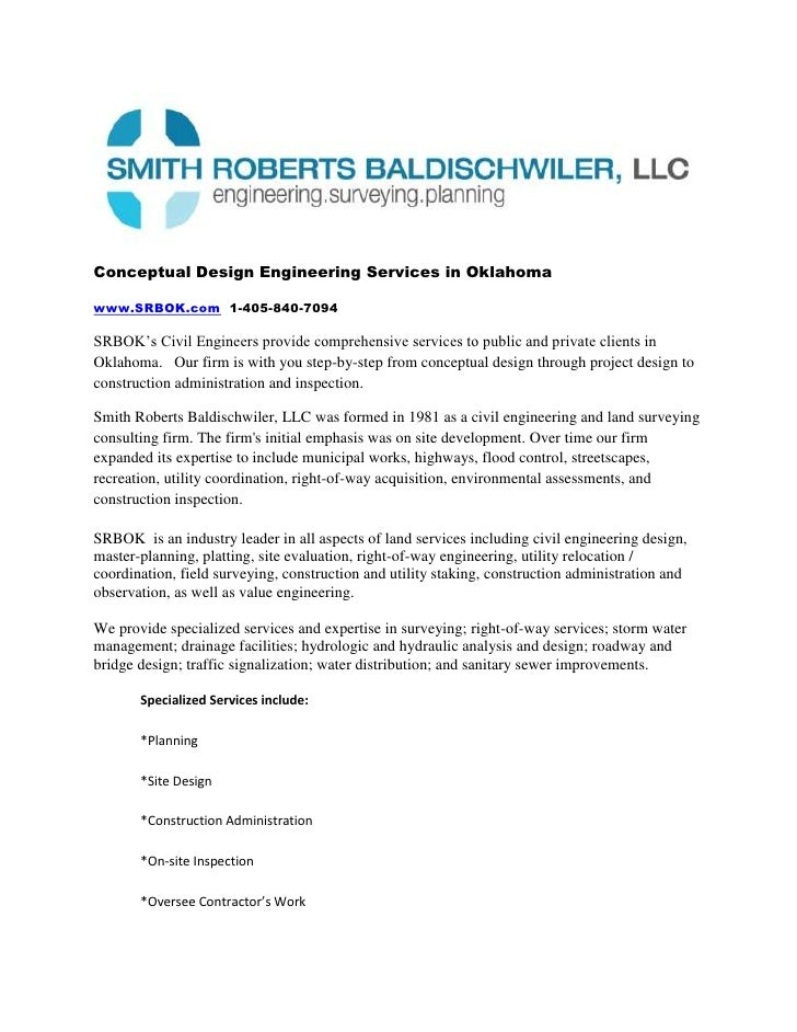 Conceptual Design Engineering Services in Oklahoma<br />www.SRBOK.com  1-405-840-7094<br />SRBOK's Civil Engineers provide...