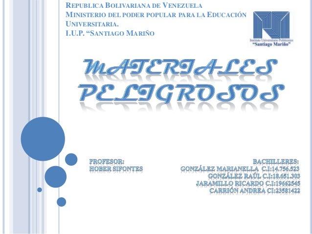 """REPUBLICA BOLIVARIANA DE VENEZUELA MINISTERIO DEL PODER POPULAR PARA LA EDUCACIÓN UNIVERSITARIA. I.U.P. """"SANTIAGO MARIÑO"""