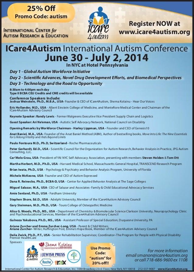 ICare4Autism International Autism Conference Day 1 - Global Autism Workforce Initiative Day 2 - Scientific Advances, Novel...
