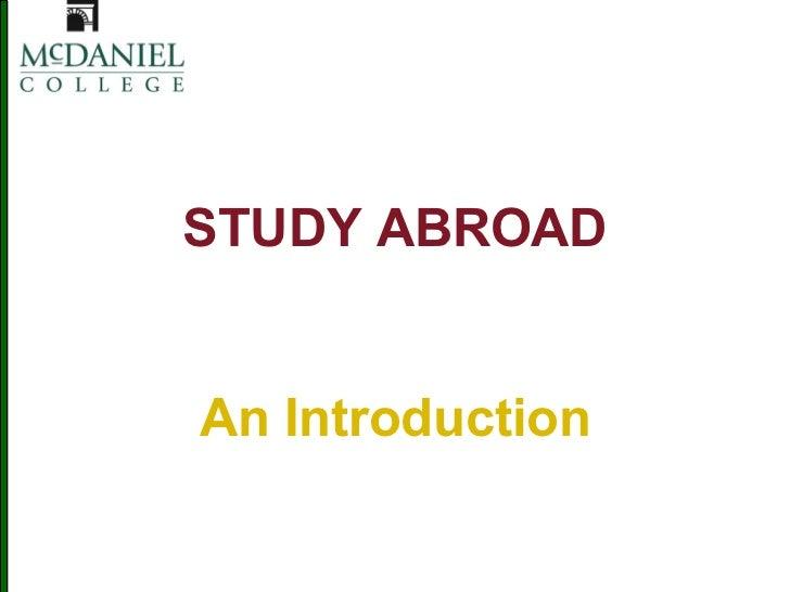 McDaniel FYS study abroad