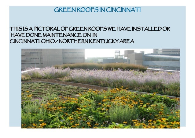 GREEN ROOFS IN CINCINNATI  THIS IS A PICTORAL OF GREEN ROOFS WE HAVE INSTALLED OR HAVE DONE MAINTENANCE ON IN CINCINNATI, ...