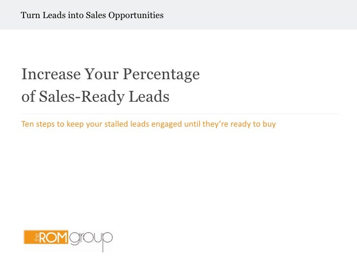 How to Increase Your Percentage of Sales Ready
