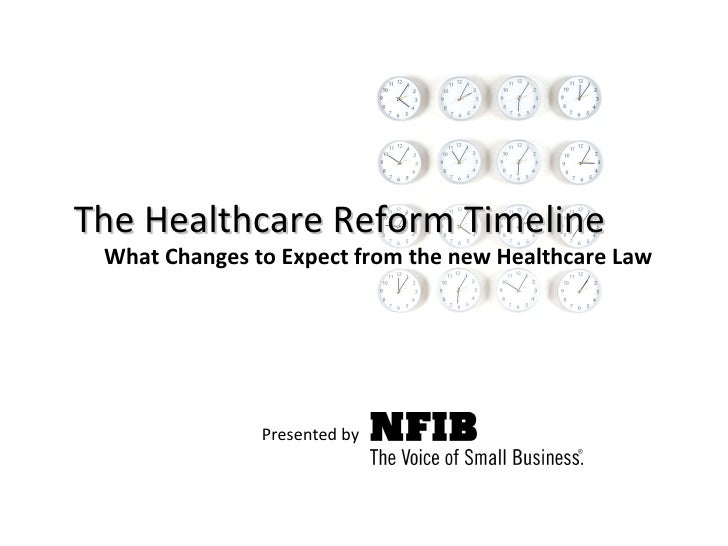 The Healthcare Reform Timeline Presented by   What Changes to Expect from the new Healthcare Law