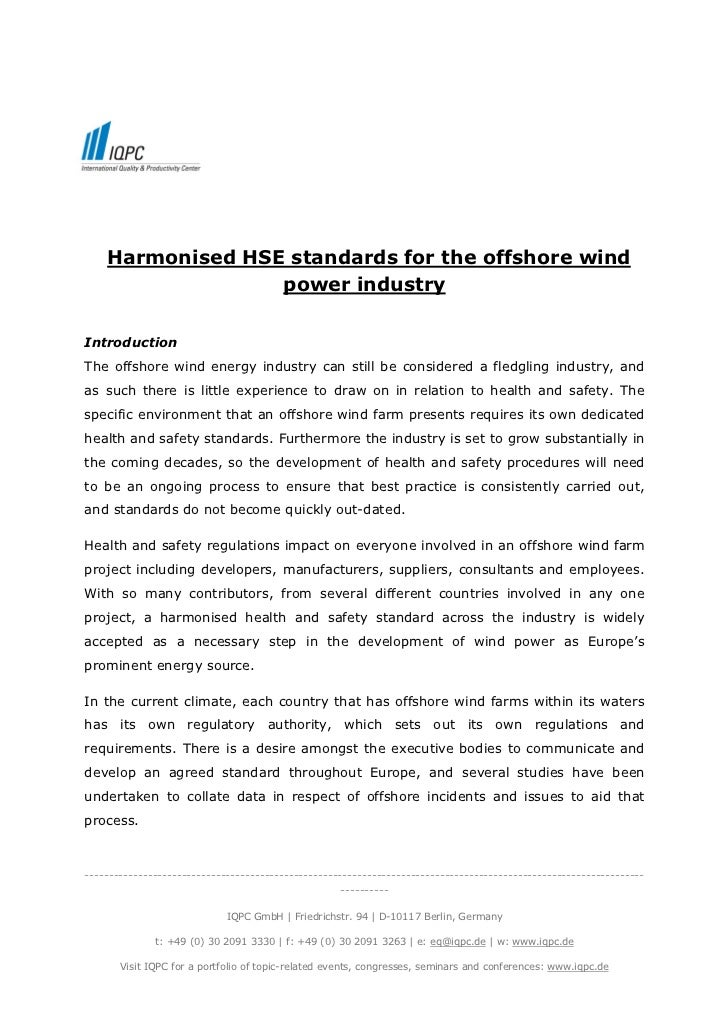 Harmonised HSE standards for the offshore wind                  power industryIntroductionThe offshore wind energy industr...