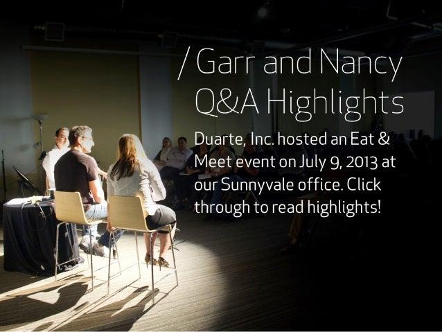 Q&A Highlights with Nancy Duarte and Garr Reynolds