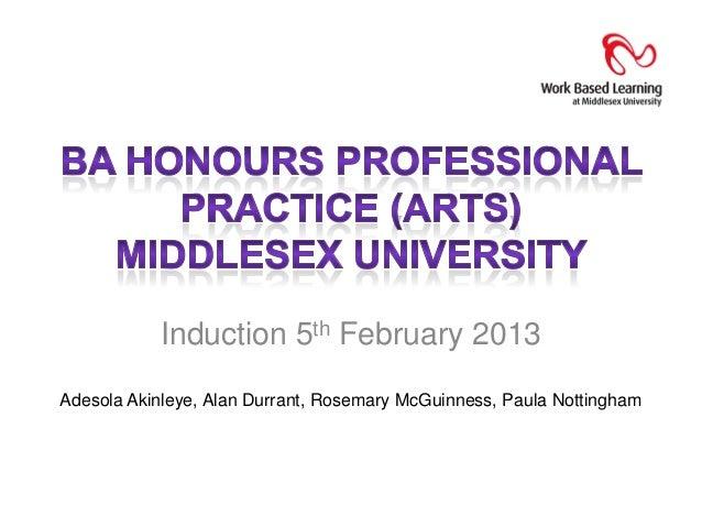 Induction 5th February 2013Adesola Akinleye, Alan Durrant, Rosemary McGuinness, Paula Nottingham