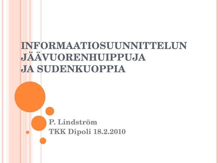 Informaatiosuunnittelun jäävuorenhuippuja ja sudenkuoppia