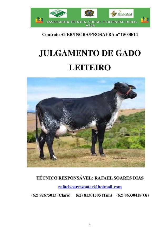 1 Contrato ATER/INCRA/PROSAFRA nº 15000/14 JULGAMENTO DE GADO LEITEIRO TÉCNICO RESPONSÁVEL: RAFAEL SOARES DIAS rafaelsoare...
