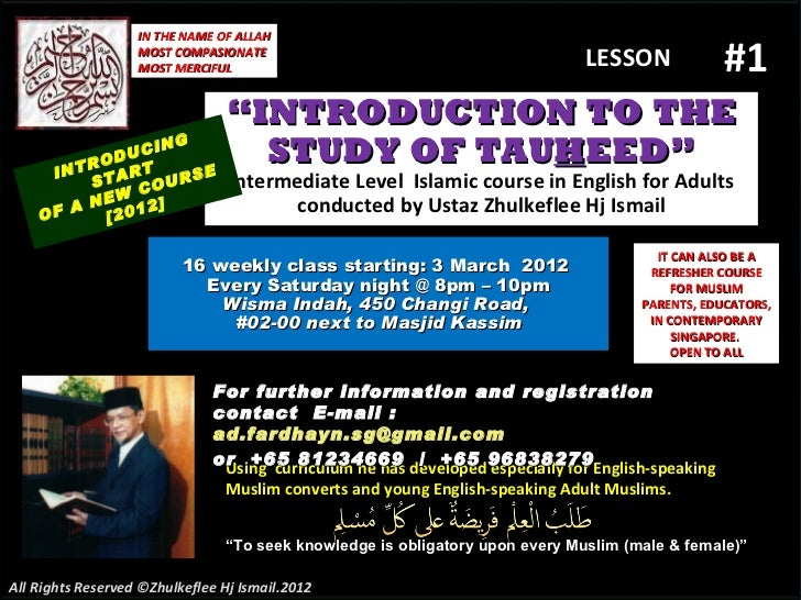 [Slideshare(lesson#1)tauhid course-2012 .pptx
