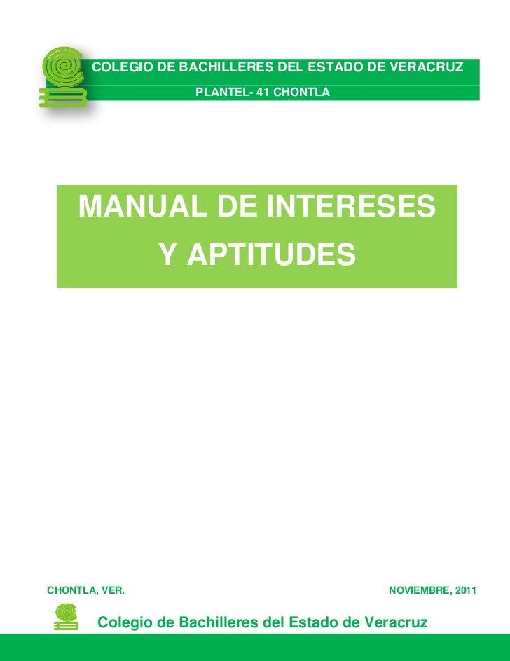 Manual de Intereses y Aptitudes 2011