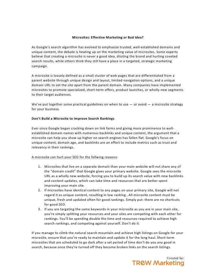Microsites: Effective Marketing or Bad Idea?