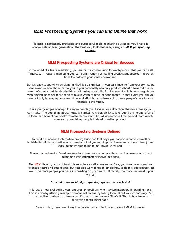 MLM Prospecting Systems