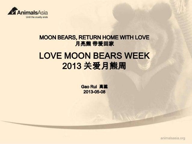 MOON BEARS, RETURN HOME WITH LOVE月亮熊 带爱回家LOVE MOON BEARS WEEK2013 关爱月熊周Gao Rui 高蕊2013-05-08