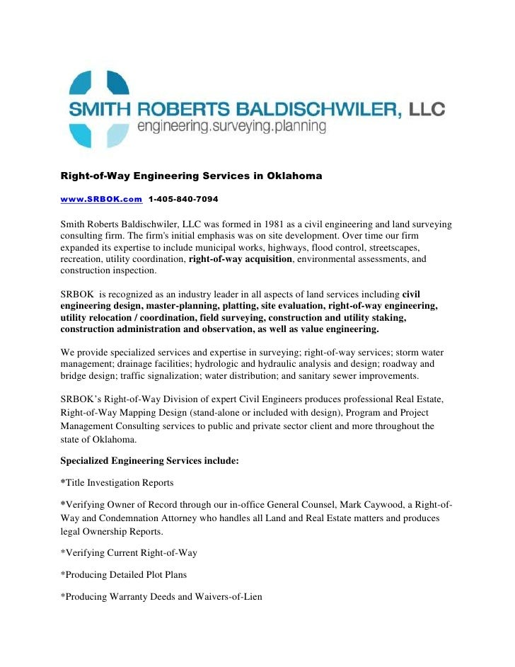 Right-of-Way Engineering Services in Oklahoma<br />www.SRBOK.com  1-405-840-7094<br />Smith Roberts Baldischwiler, LLC was...