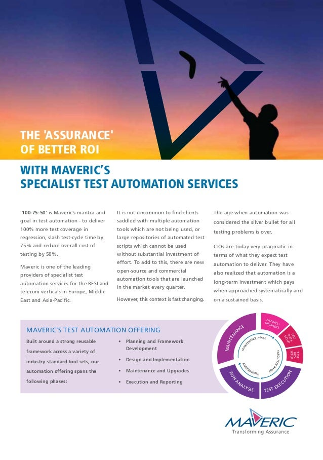 '100-75-50' is Maveric's mantra and goal in test automation - to deliver 100% more test coverage in regression, slash test...