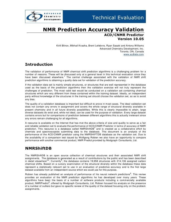 Technical Evaluation                  NMR Prediction Accuracy Validation                                                  ...
