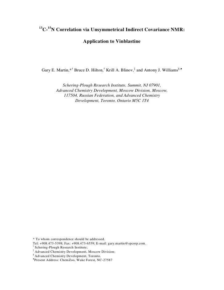13C-15N Correlation via Unsymmetrical Indirect Covariance NMR: Application to Vinblastine