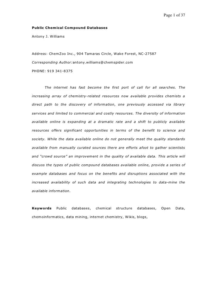Page 1 of 37  Public Chemical Compound Databases  Antony J. Williams    Address: ChemZoo Inc., 904 Tamaras Circle, Wake Fo...