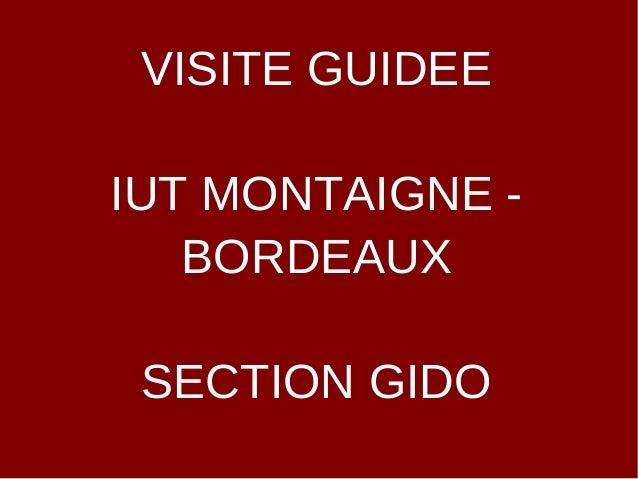 VISITE GUIDEEIUT MONTAIGNE -   BORDEAUX SECTION GIDO