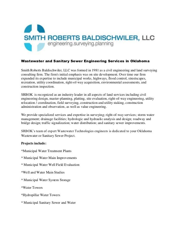 Wastewater and Sanitary Sewer Engineering Services in Oklahoma<br />www.SRBOK.com  1-405-840-7094<br />Smith Roberts Baldi...