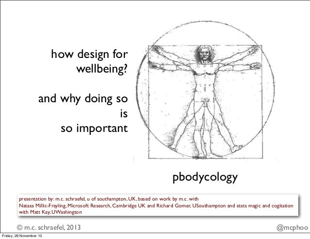 how design for wellbeing? and why doing so is so important  pbodycology presentation by: m.c. schraefel, u of southampton,...
