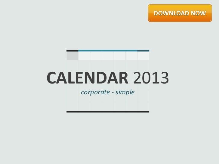 CALENDAR 2013   corporate - simple