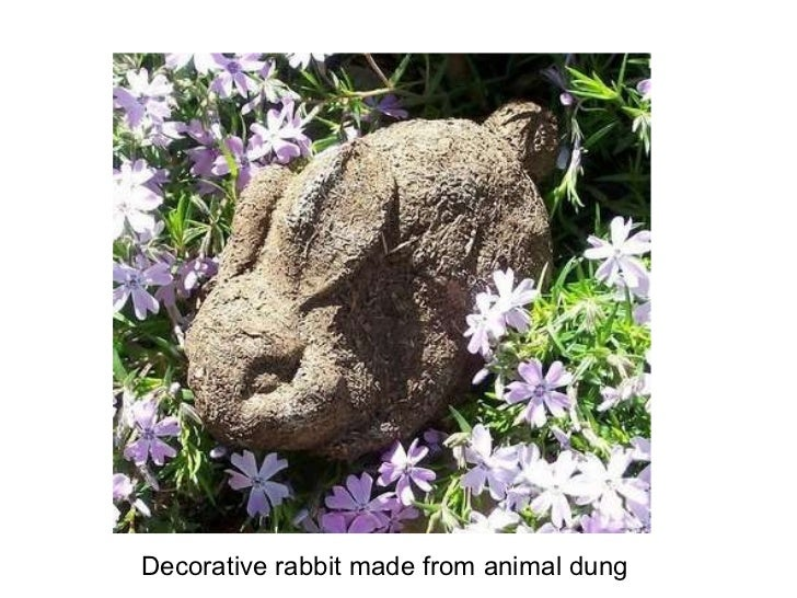 Decorative rabbit made from animal dung
