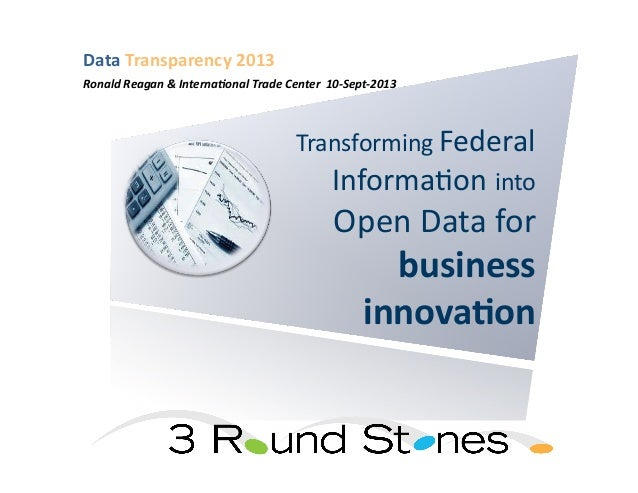 Transforming  Federal   Informa1on  into   Open  Data  for   business   innova*on   Data  Transparency...