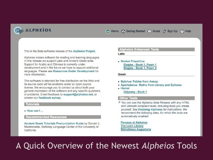 A Quick Overview of the Newest  Alpheios  Tools